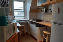 Kitchenette, possibly shared with another guest on the floor [front].