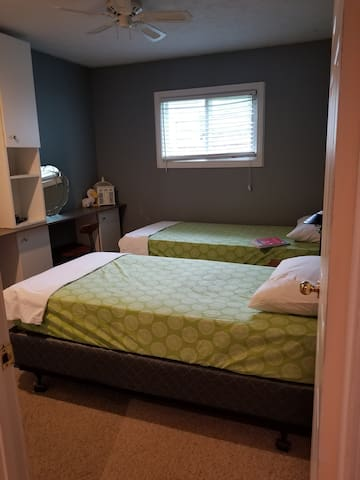 Twin beds. Set up as singles or roll together for a king.