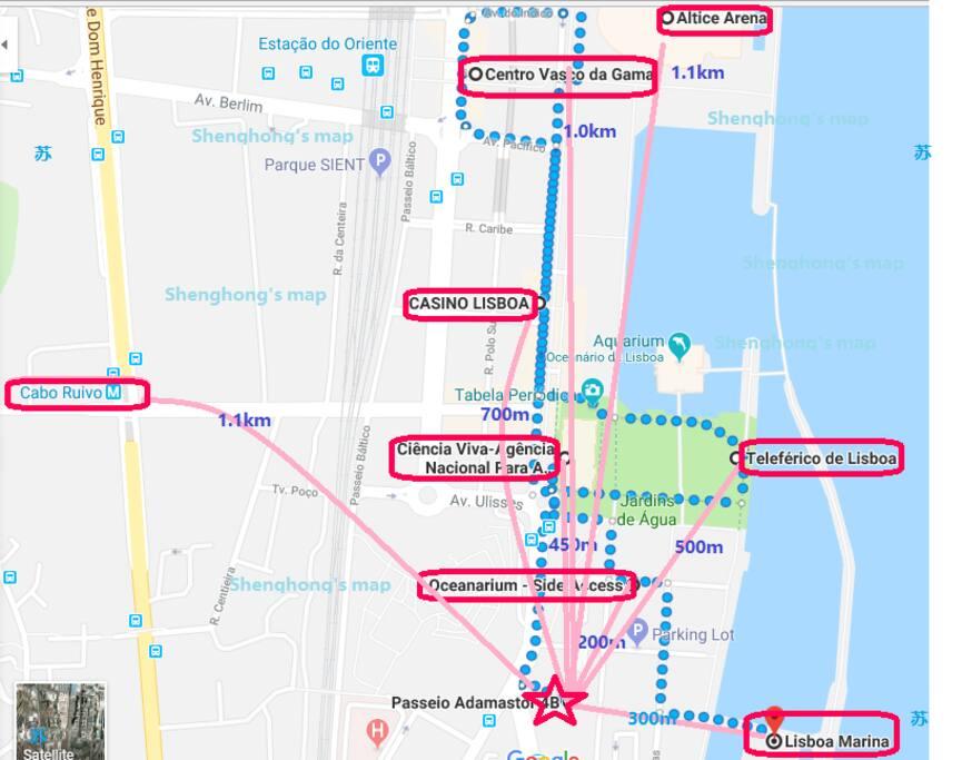 Map to go the major destinations