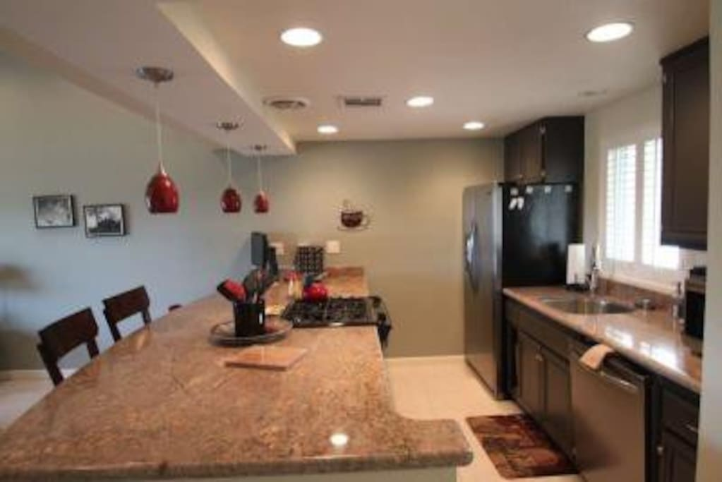 Modern freshly renovated kitchen, all new appliances and dishware.
