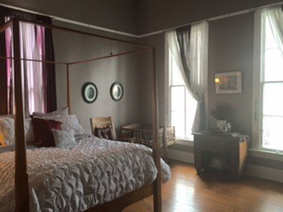 The East Room is large and spacious and furnished with family antiques. The room is downstairs and has easy access to to the living areas and beautiful front porch.