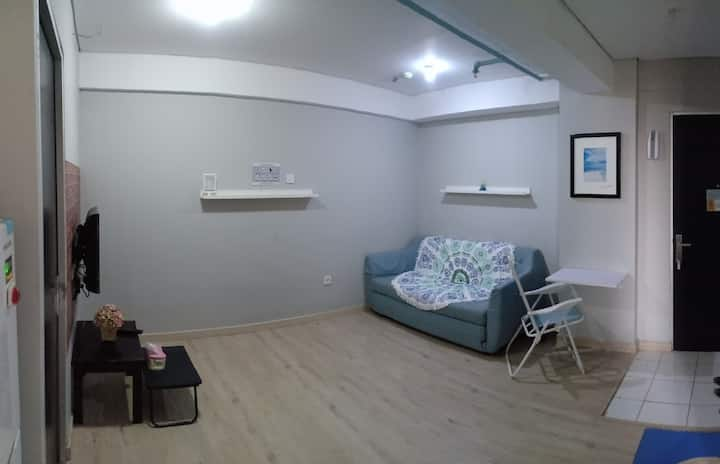 Cozy 1 Br flat + huge Sofa bed +Hot Shower