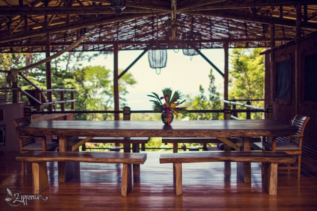 Communal dining room with ocean view.