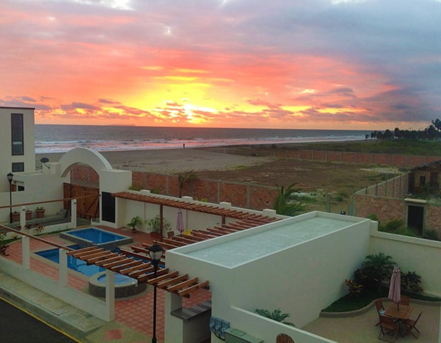 Typical sunset vista taken from the roof of Villa #2 - note proximity to beach