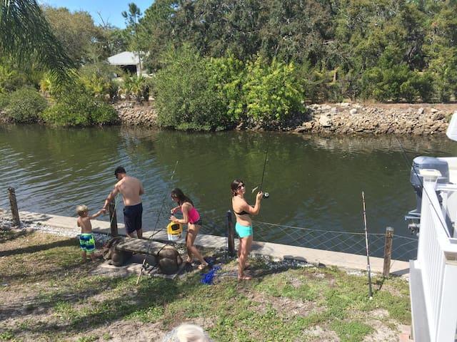 Fishing in backyard