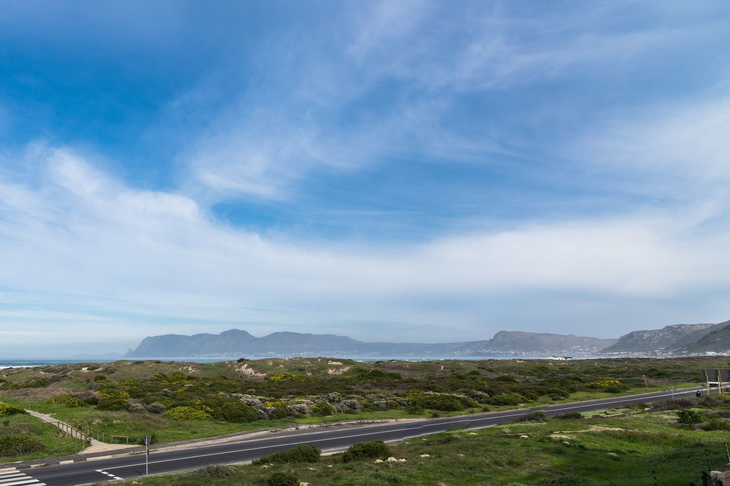 View of False Bay from the balcony with the path to the beach across the road.