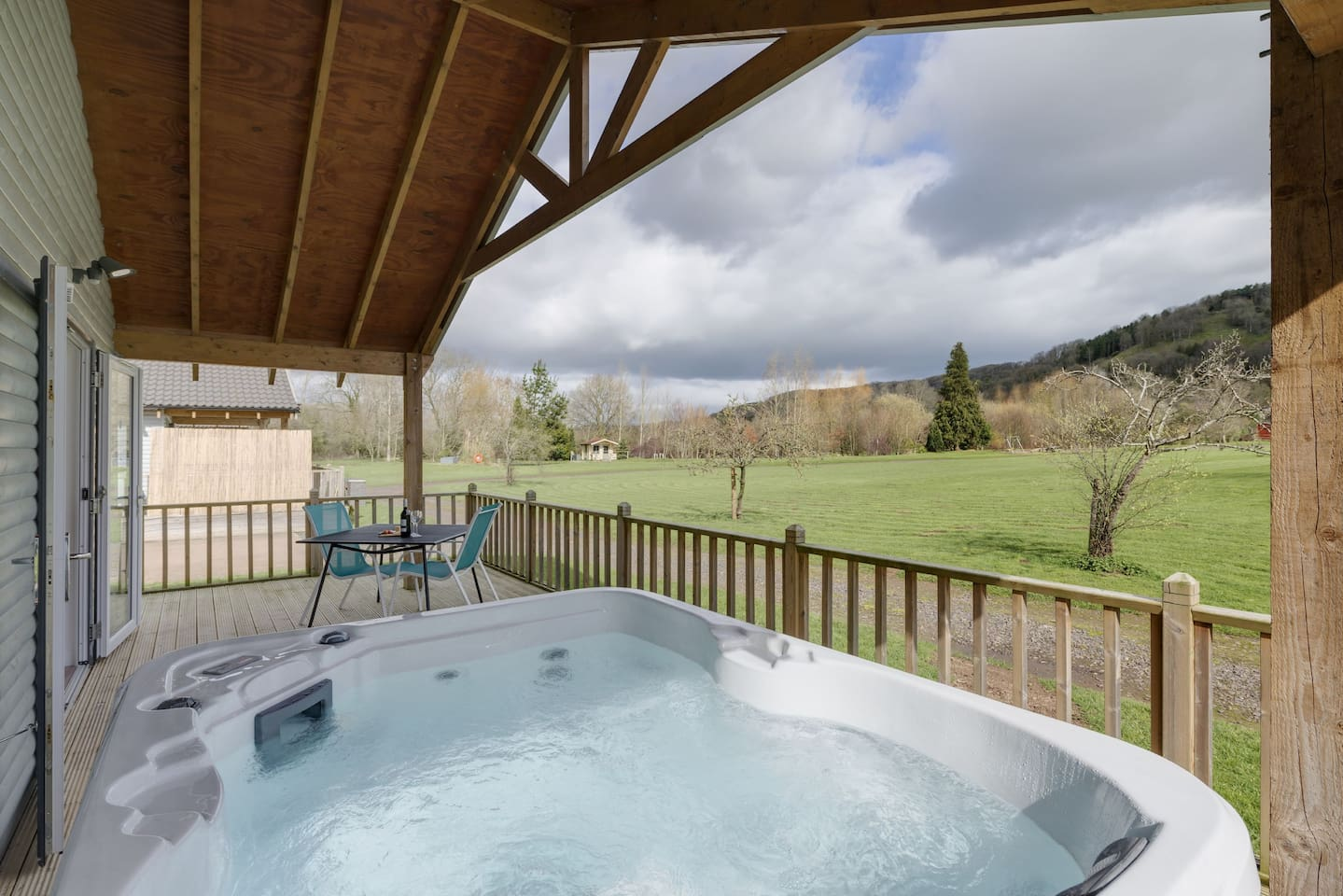Terrace with bubbling hot tub