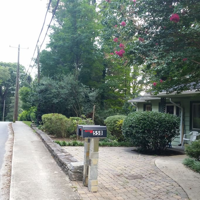 Walking distance from downtown Tryon via sidewalks 3 blocks. This house has ample parking for 3 cars or 1 trailer + 1 car.