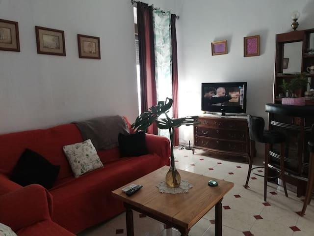 Amplio salón con 2 sofás de 3 plazas, TV de pantalla plana y minibar decorativo.