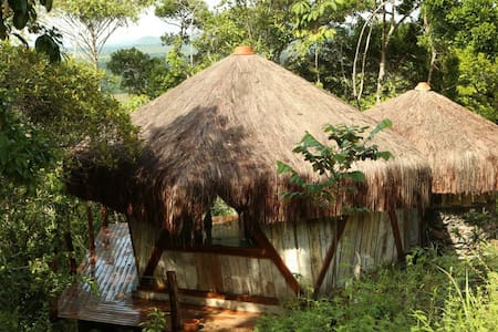 Tropical  cabin, on the hill and atlântic ocean.