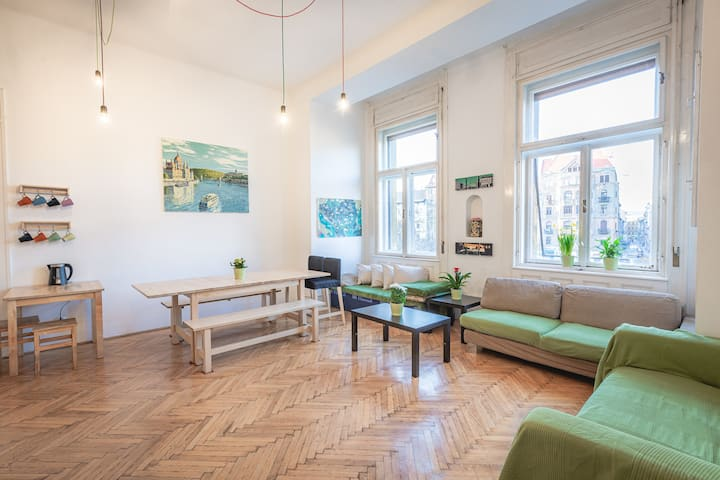Spacious 6 bed shared room in Budapest.