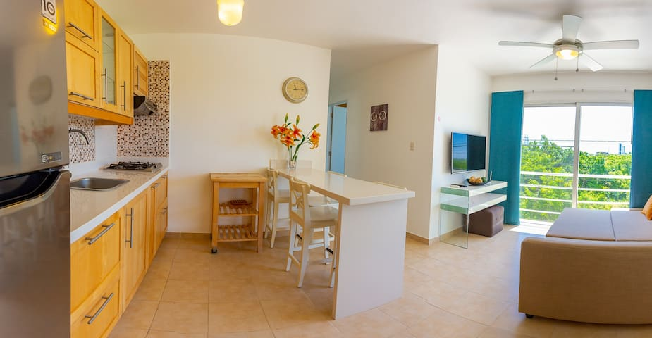 kitchen, living room and dining room