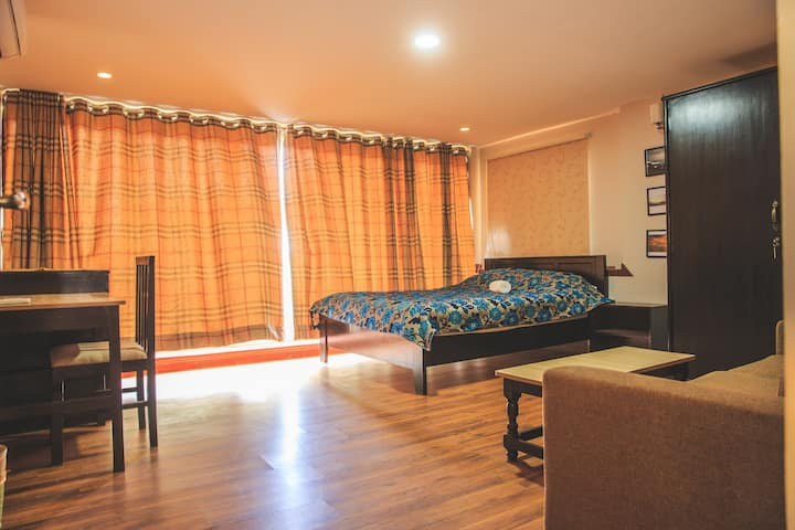 Luxurious room with AC, fast wi-fi and television
