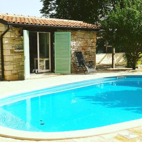 Shirley's house next to  pool