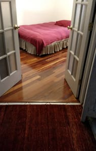 Lovely cherry hardwood, Full (double) bed, desk - Haus