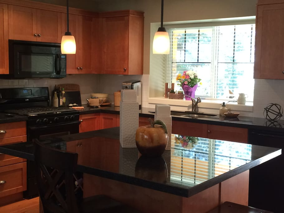 Quality appliances, gas stove, granite counter tops