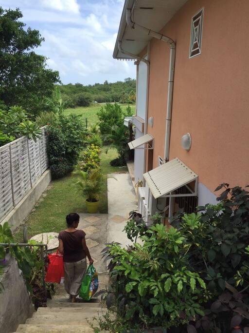 Vous et les autres locataires de la résidence avez accès au jardin et au portail qui donne directement sur la plage.