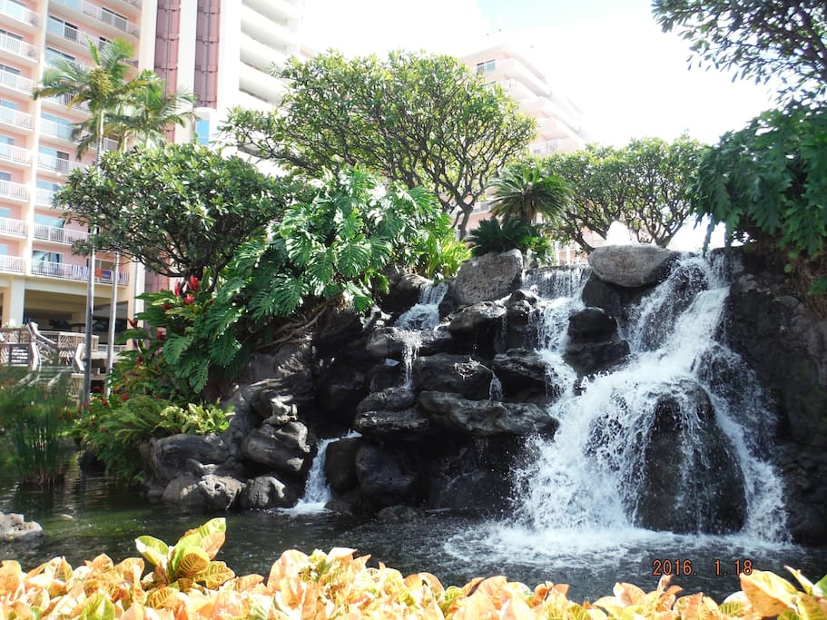 Waterfalls and lush tropical grounds around the KBC resort.