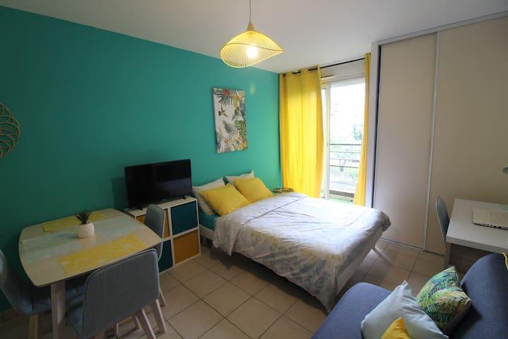 Sainte Clotilde: studio cosy-tropical accueillant