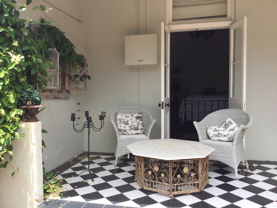French doors opening from third bedroom onto verandah.
