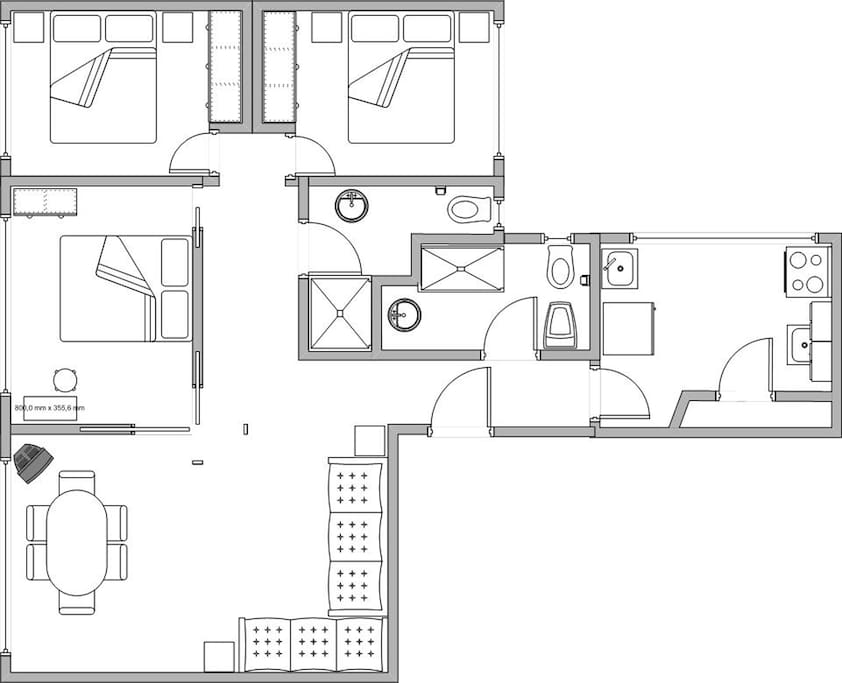 apartment map with 3 bedrooms