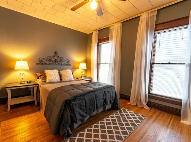 A spacious, calm, and comforting master bedroom; plenty of room to spread out and relax!