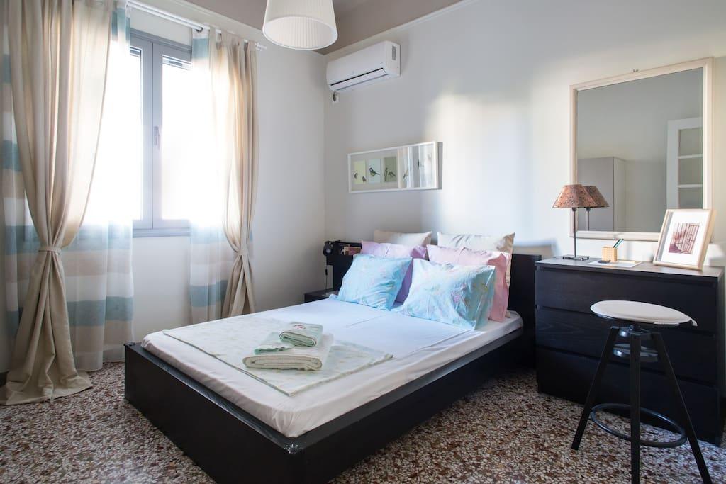 The bedroom..