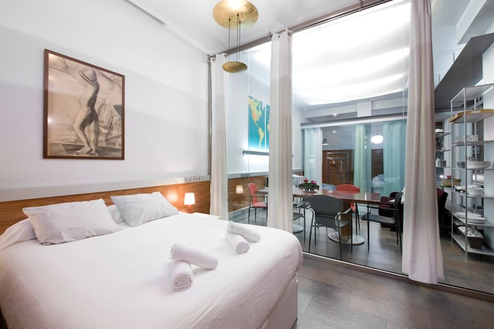 Studio for 4 people close to the beach. - Donostia - Loft