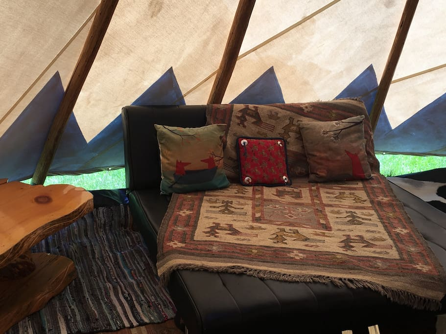 we've updated this tipi with a brand new bed and furnishings.