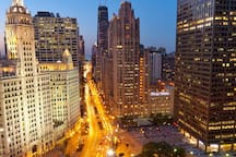 Main attractions Magnificent Mile down town chicago.