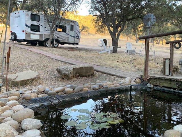 RV on a 40 acre ranch among the oaks.