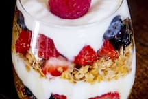 Another delicious, filling choice is our fruit parfait made with fresh fruit on demand.