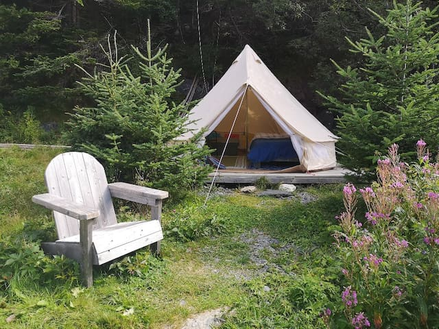 EAST COAST NEWFOUNDLAND SIBLEY TENT ON THE BEACH