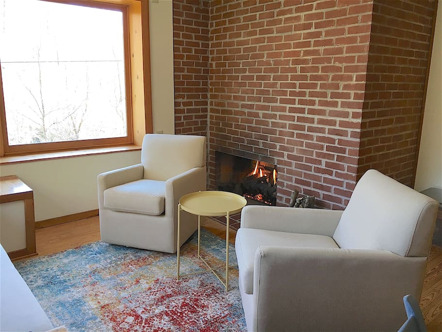 Swivel chairs  to choose your view and fireplace allows you to set the mood