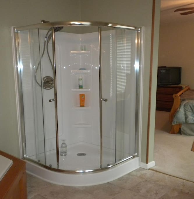 New shower in attached bathroom