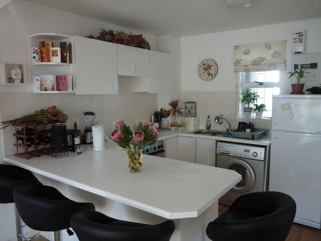 Kitchen with access to fridge,  cupboard space and washing machine