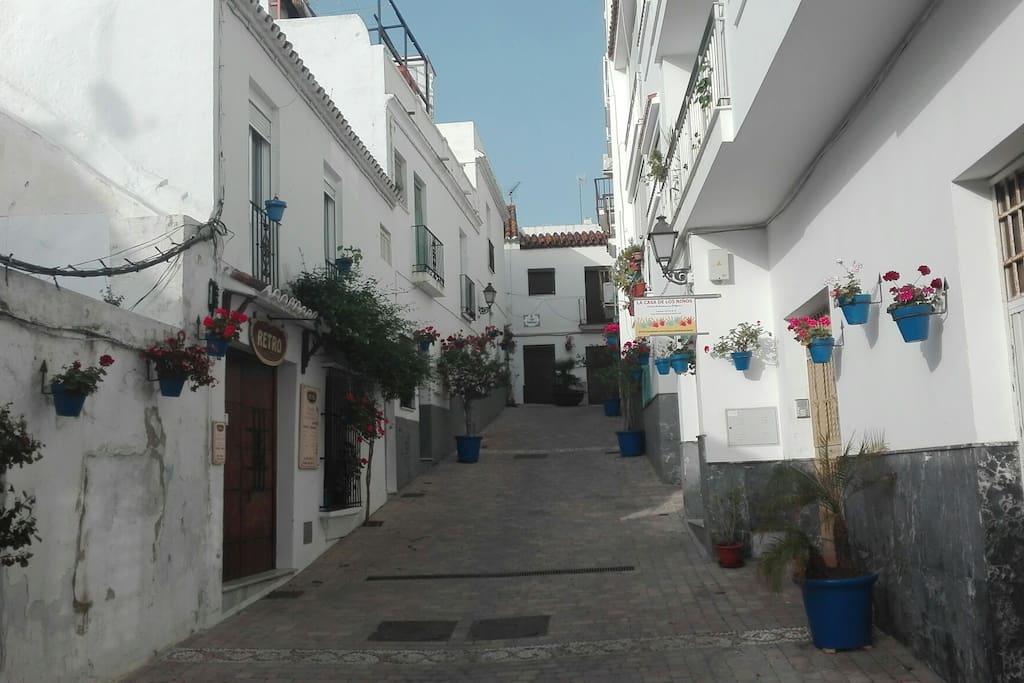 Preciosa calle y puerta lateral llena de geranios andaluces