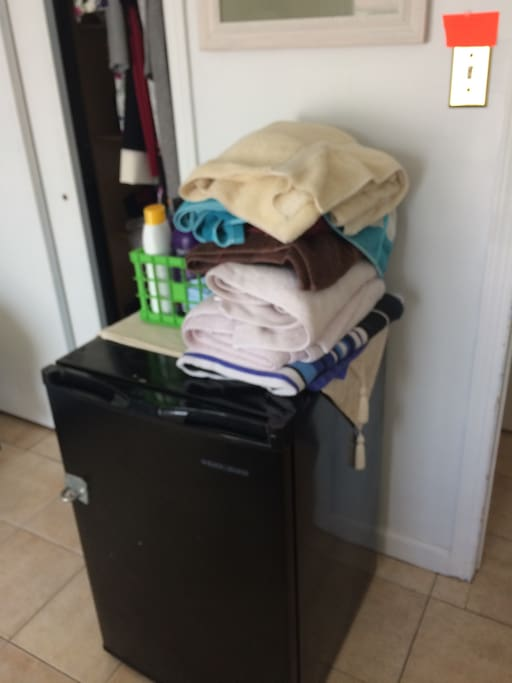 Single refrigerator in the room