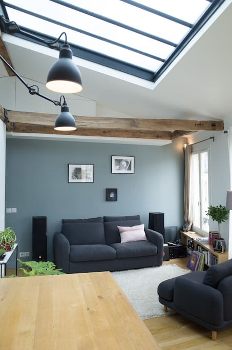 The living room with the large skylight window