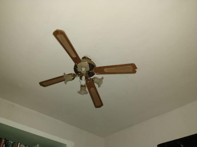 Sala de estar com ventilador de teto.