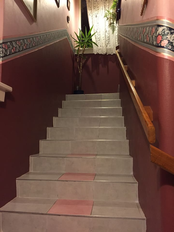The stairs that lead up to your room.