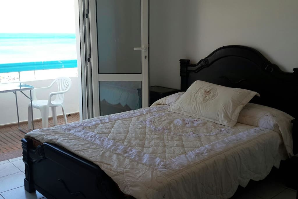 Double bed with private balcony - sea views.