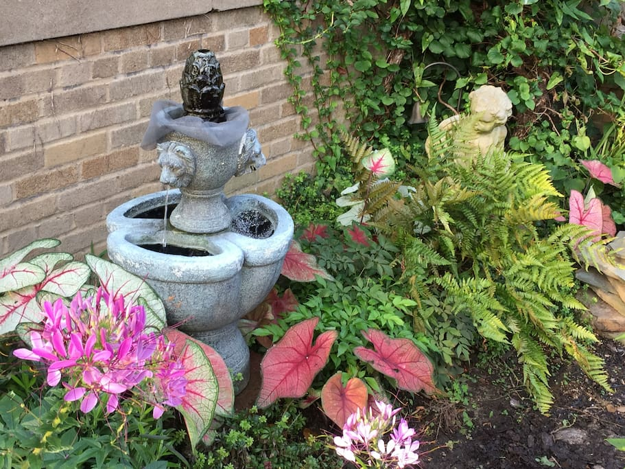 Soothing fountain in yard