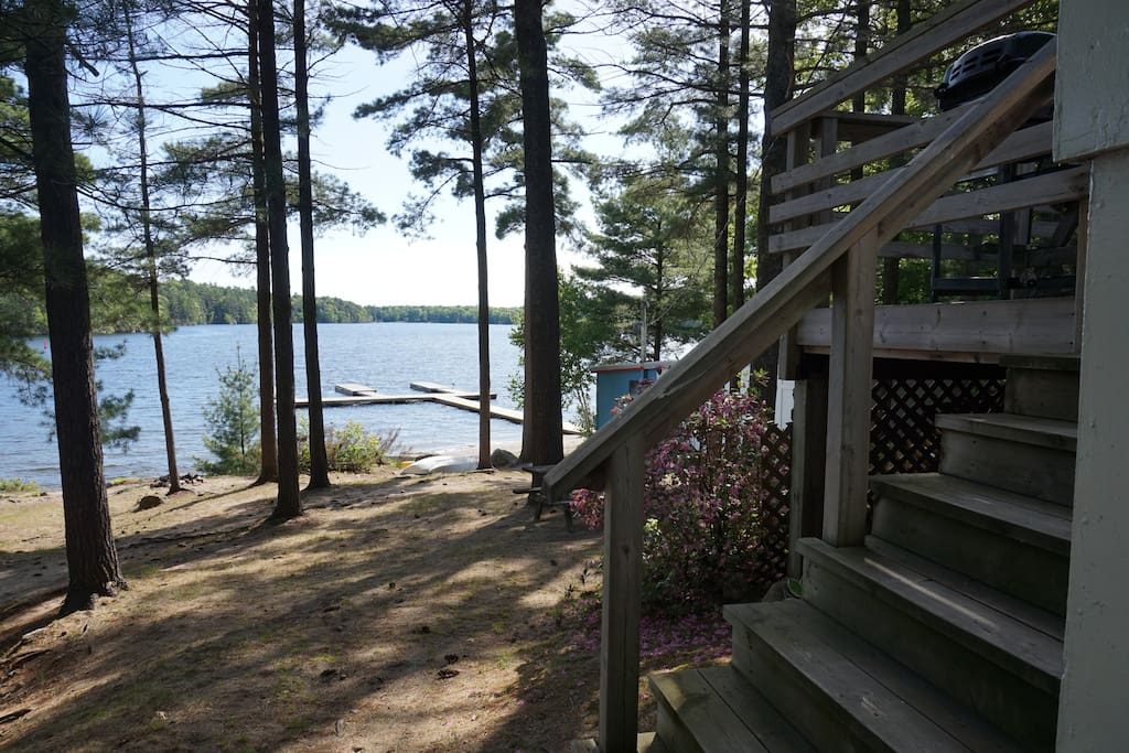 View from  front of cottage with steps and front deck