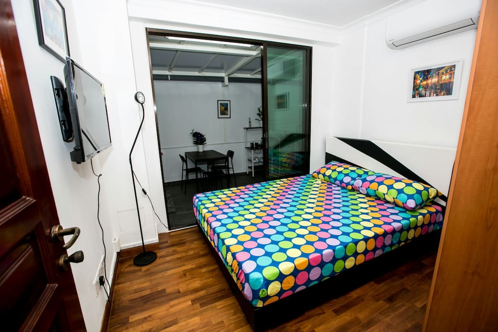 Large bed room with wardrobe