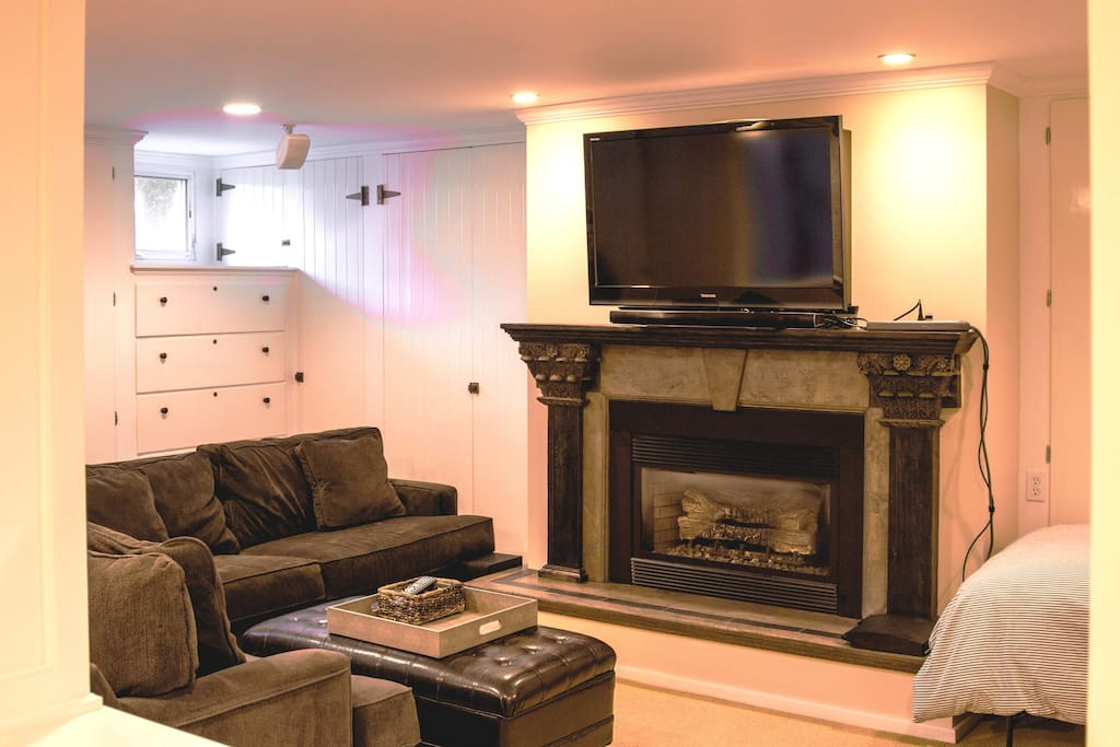 Beautiful gas fireplace and large TV with HDMI cable