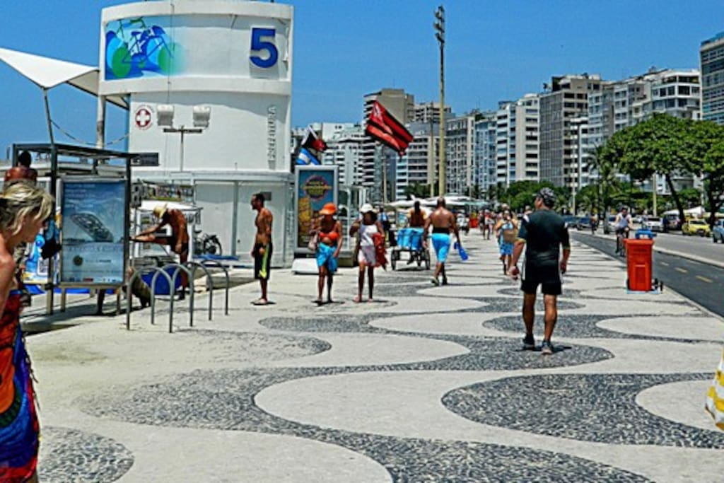 Copacabana Beach Posto 5, one block from the apartment