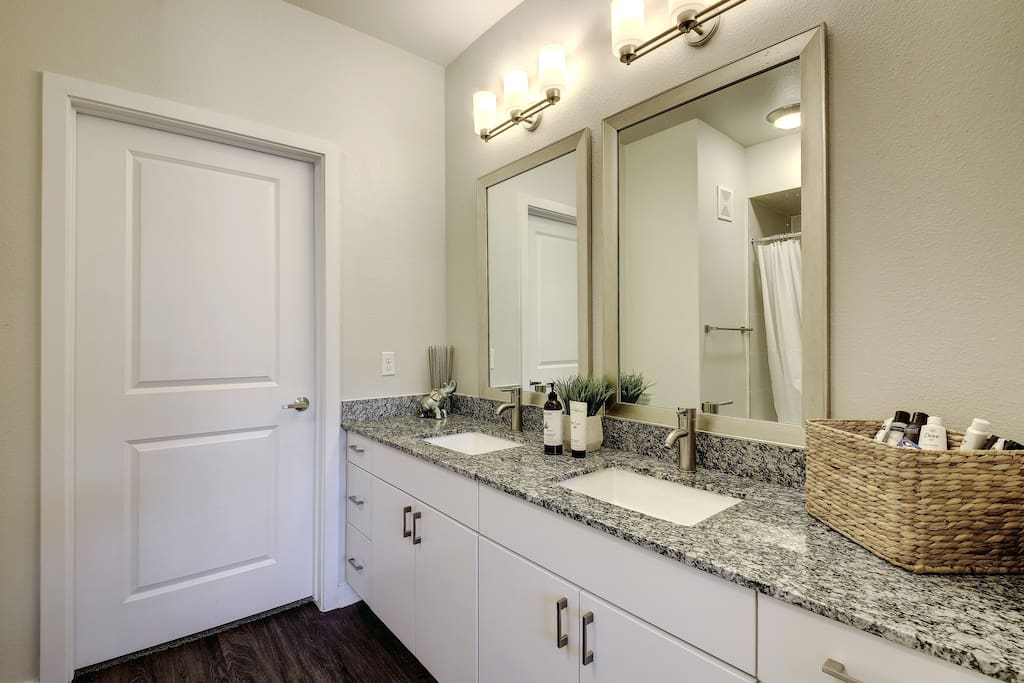 Freshen up for a day/night of adventure and fun in the clean and refreshing bathroom.
