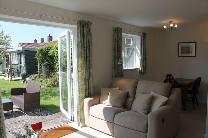 Living/dining area overlooking the garden