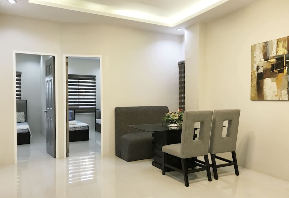 Wide and airy space right before entering the bedrooms. There is an option to add an extra single bed (actual bed) in this widely spaced area if you are more than 4 persons.